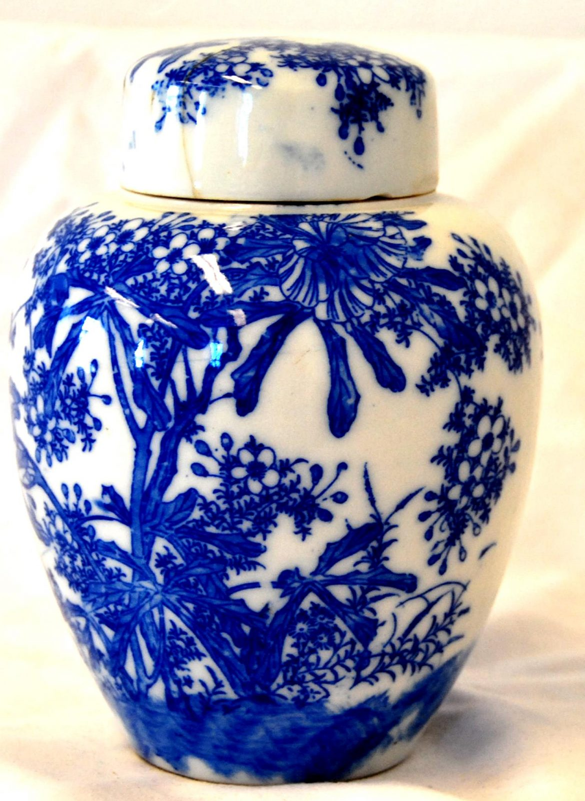 Japanese Blue And White Miniature Ginger Jar