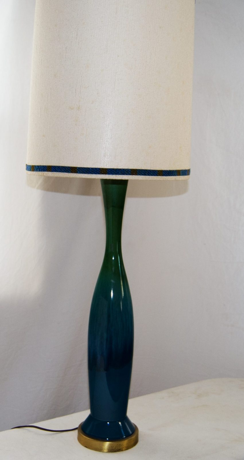 Mid Century Lamp Vintage Blue Green Ceramic