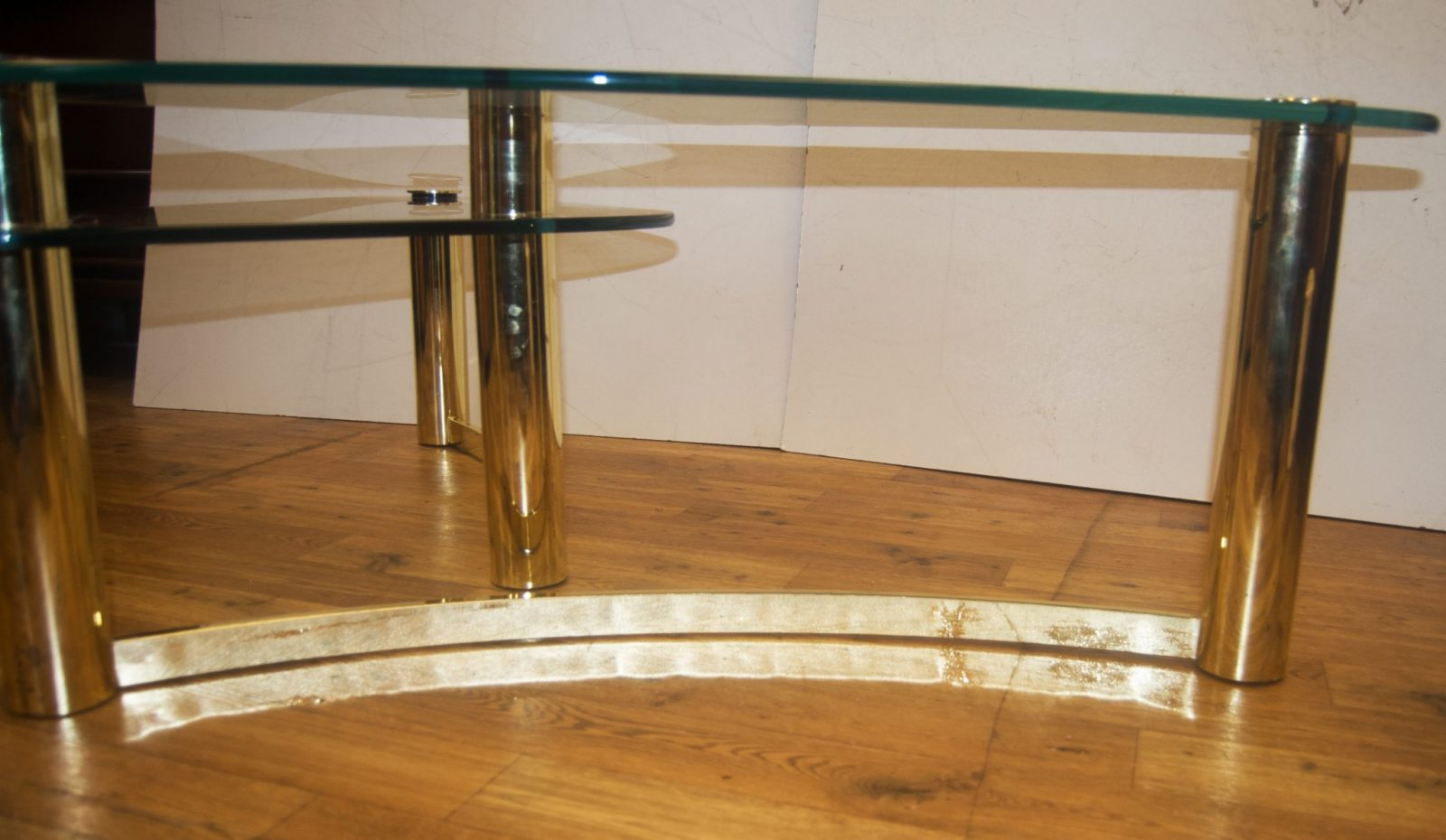 1970s Tubular Brass And Glass Asymmetrical Two Tier Coffee