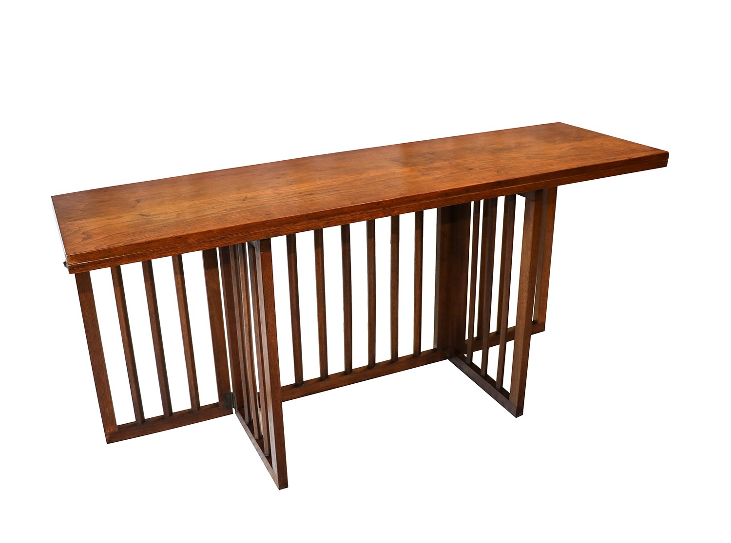 Mid century modern folding console dining table for Folding dining table