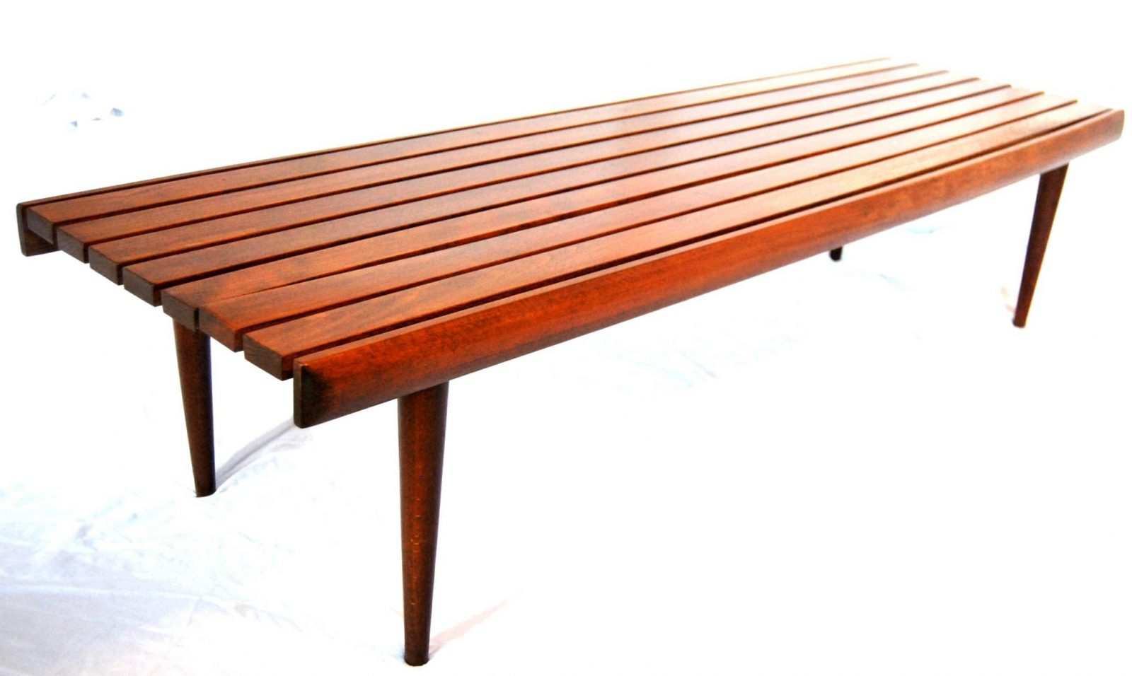Mid Century Danish Modern Slat Bench Coffee Table