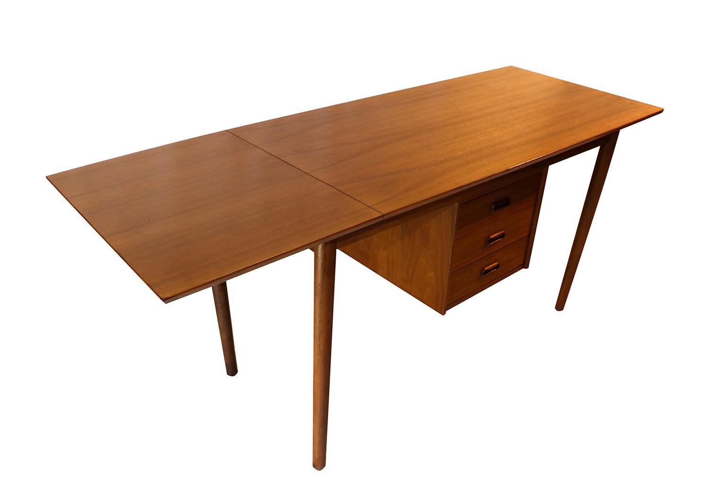 Arne Vodder Mid Century Danish Walnut Drop Leaf Desk