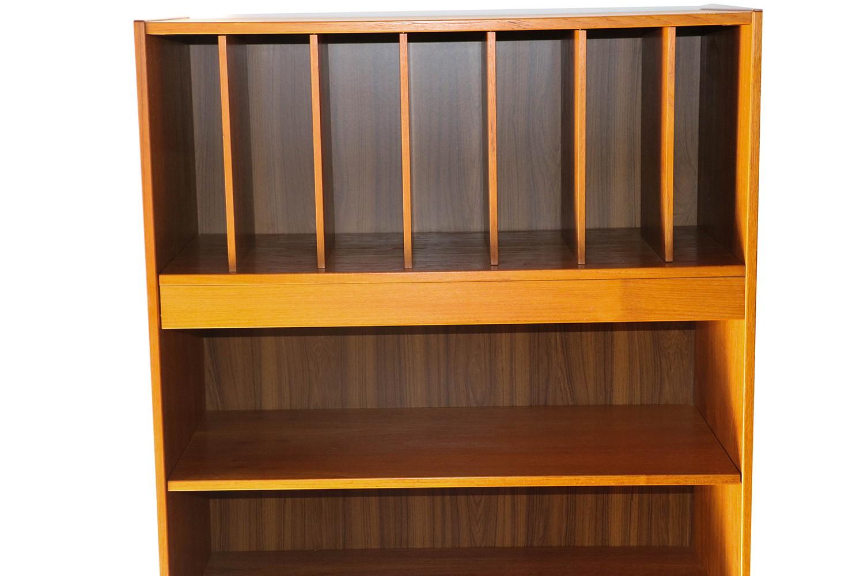 Mid Century Danish Tall Teak Vinyl Storage Cabinet