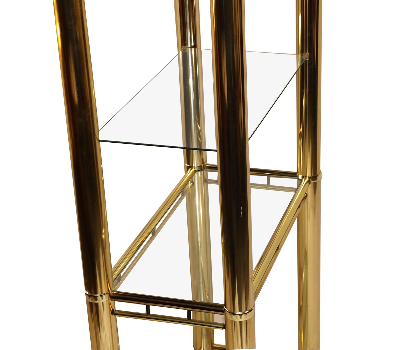 Mid Century Milo Baughman Style Brass Glass Etagere