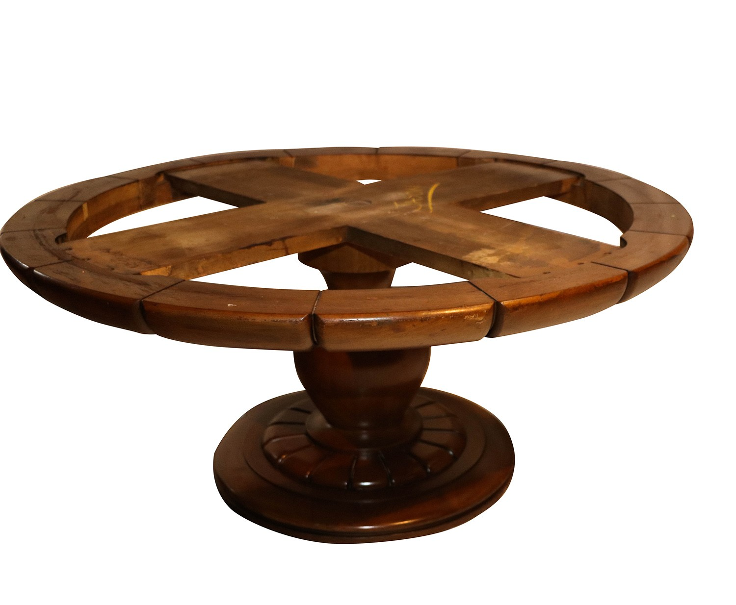 Vintage walnut marble round pedestal coffee table for Marble and walnut coffee table