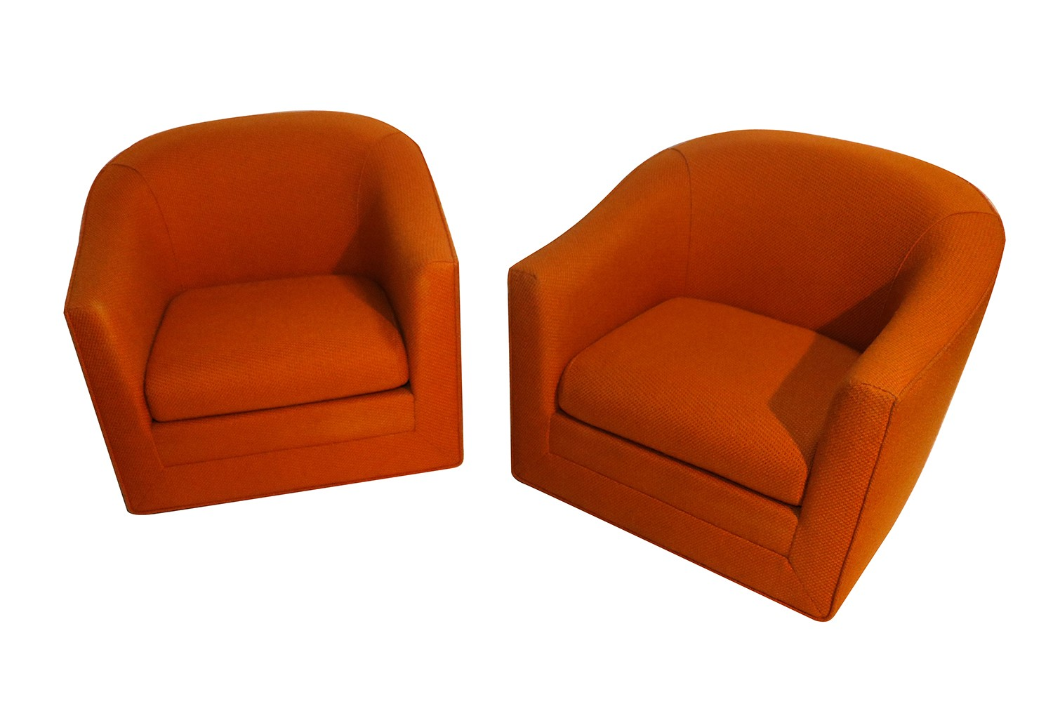 Pair milo baughman style mid century swivel lounge chairs for Stylish lounge chairs