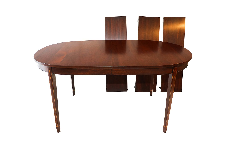 Henkel Harris Inlaid Mahogany Oval Dining Table Mary Kay S Furniture