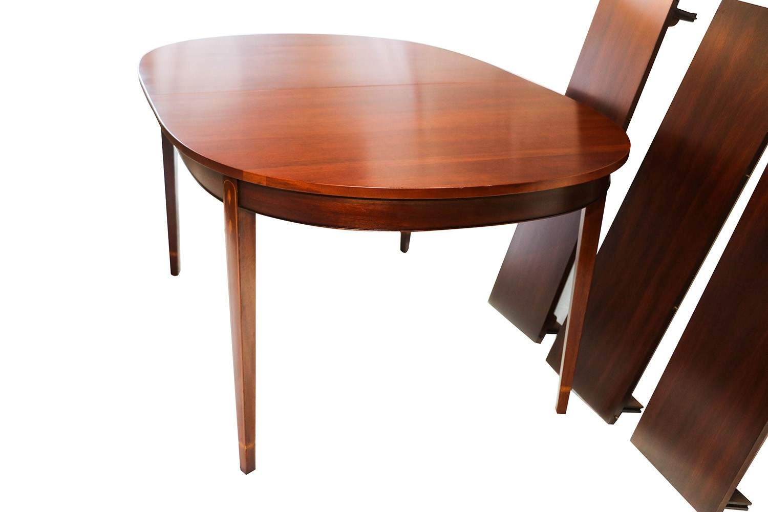 Henkel harris inlaid mahogany oval dining table for Oval dining table