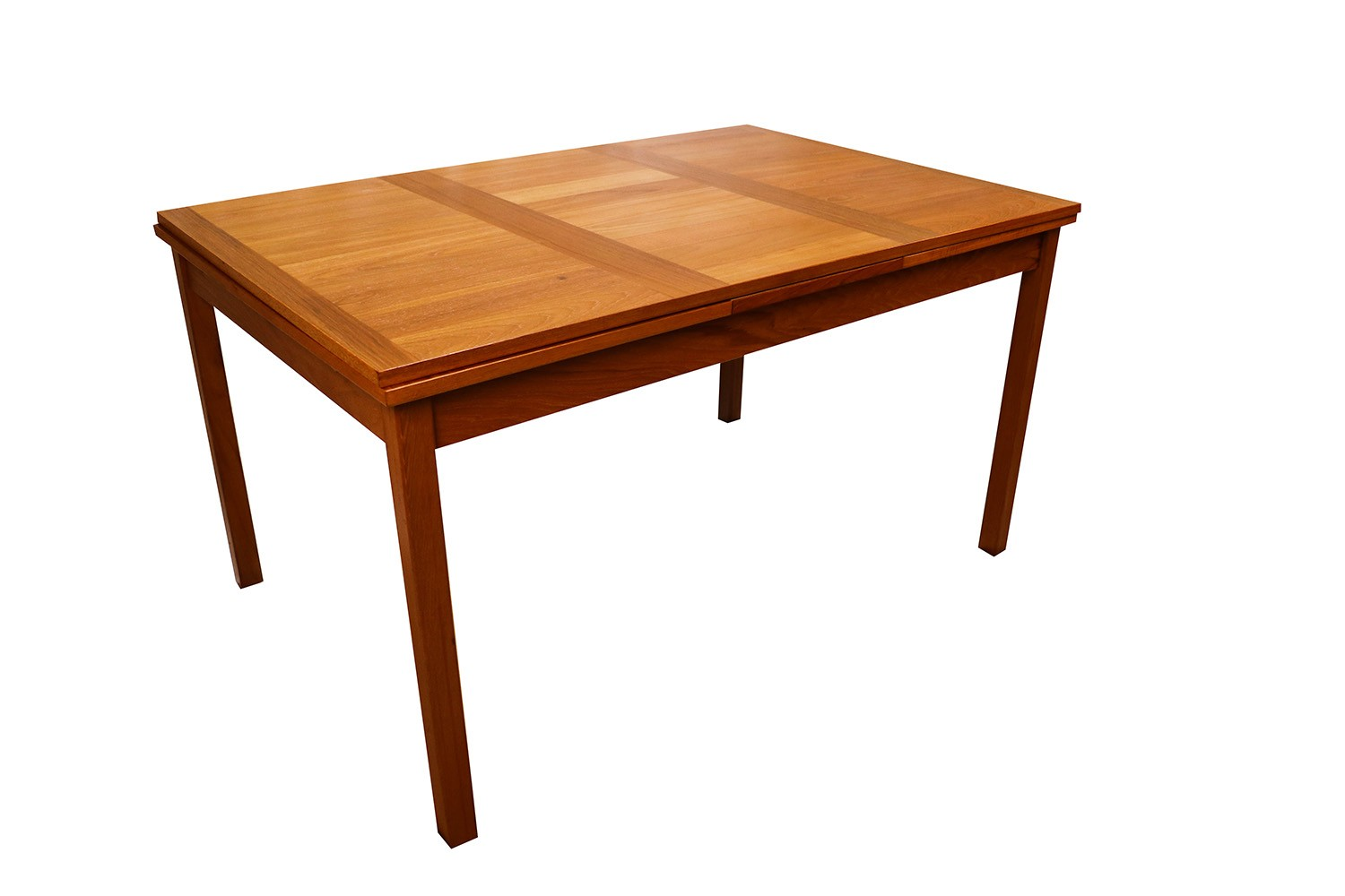 Danish modern teak extendable dining table vejle stole for Extendable dining table