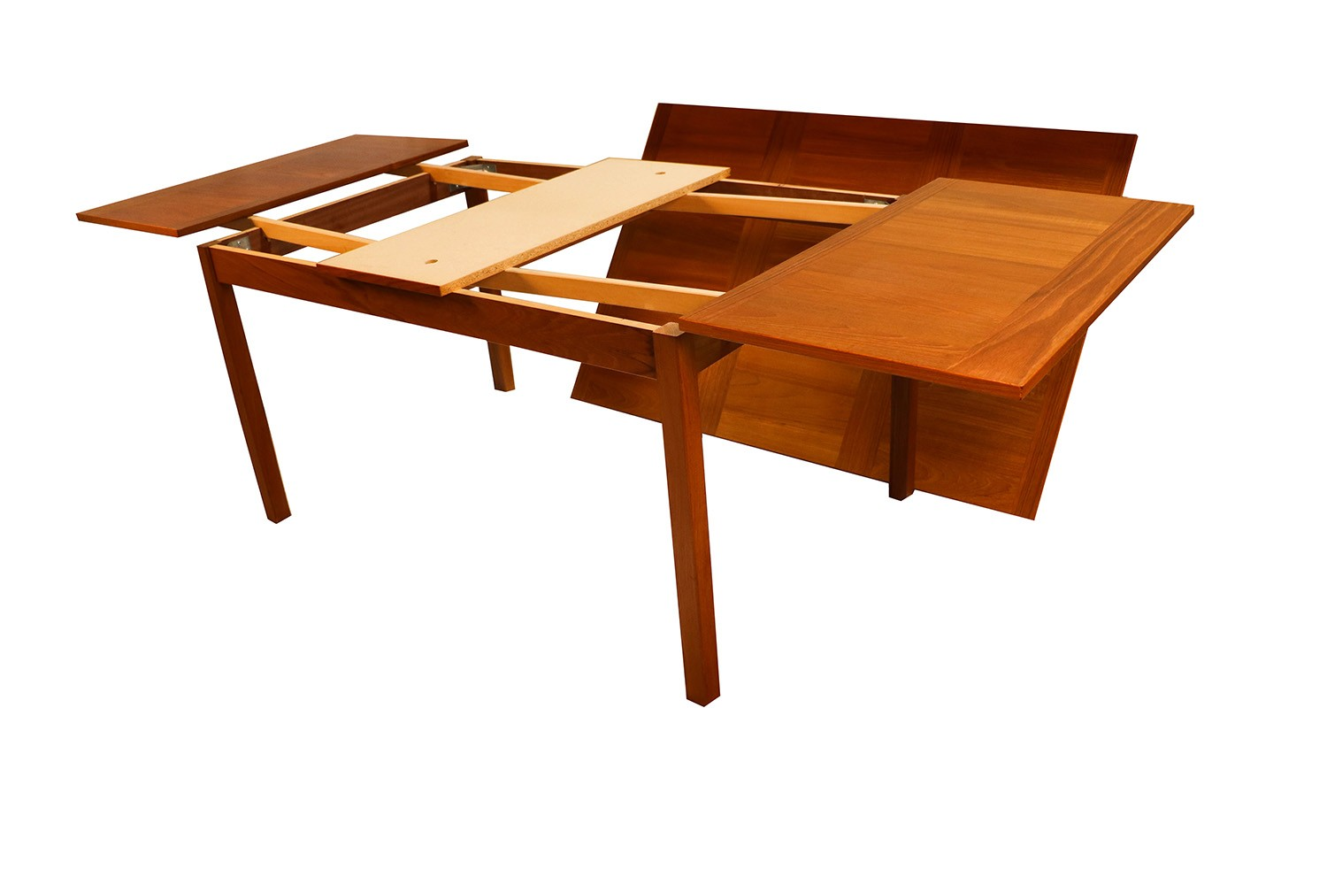 Danish modern teak extendable dining table vejle stole for Table extensible 6 a 12 couverts