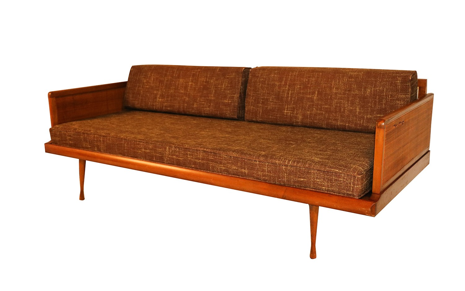 Mid Century Modern Convertible Sofa Peter Hvidt Style on coffee tables of the 1950s