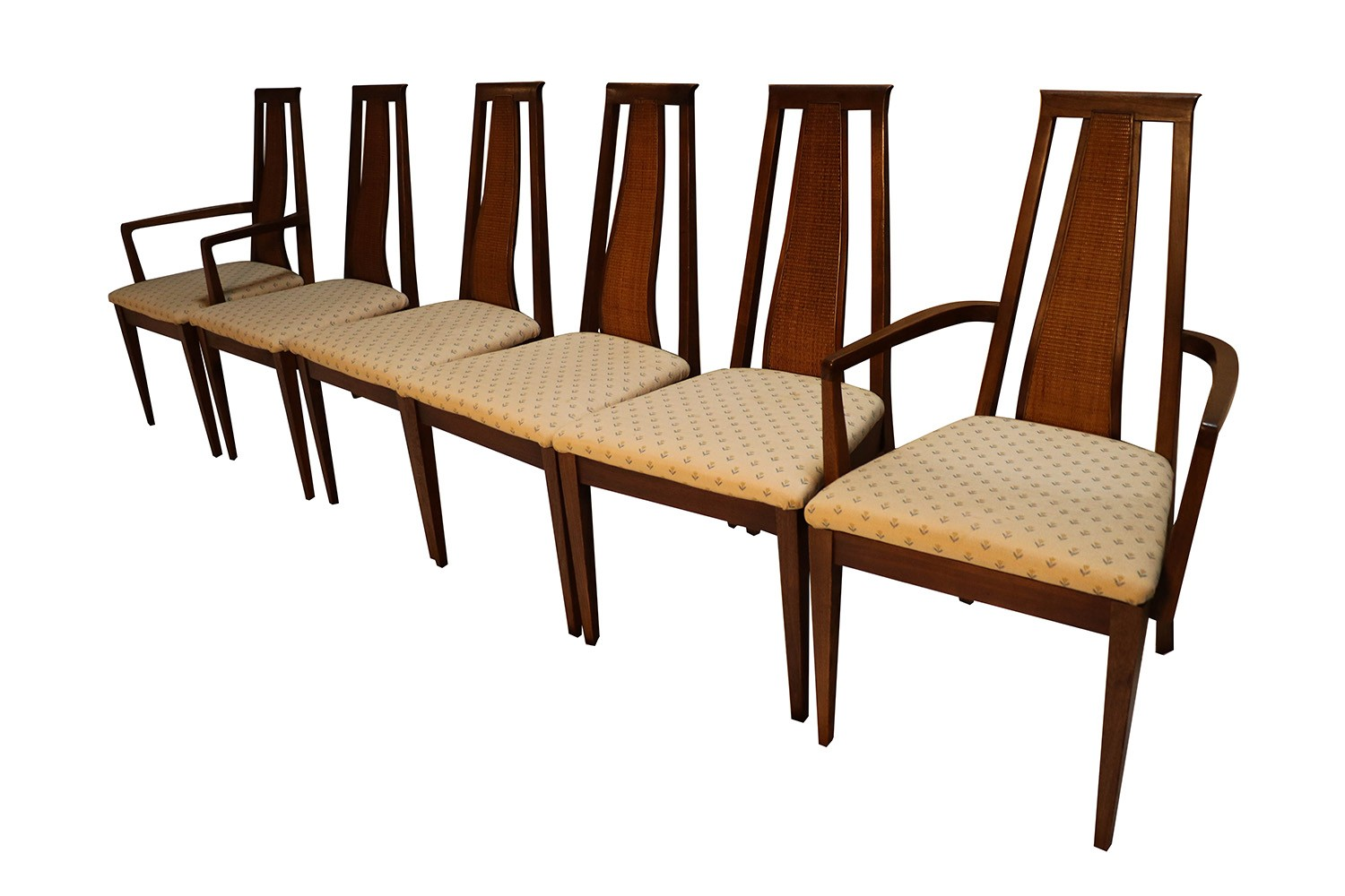 mid century modern six walnut dining chairs american of martinsville. Black Bedroom Furniture Sets. Home Design Ideas