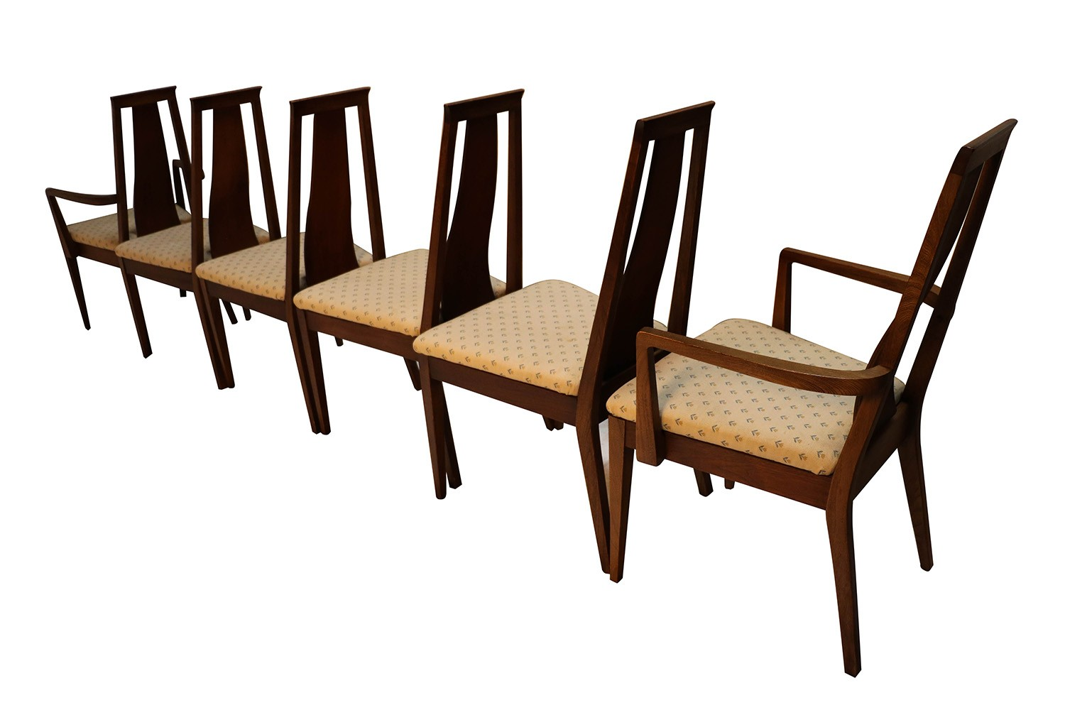 Exceptionnel Mid Century Modern Six Walnut Dining Chairs American Of Martinsville