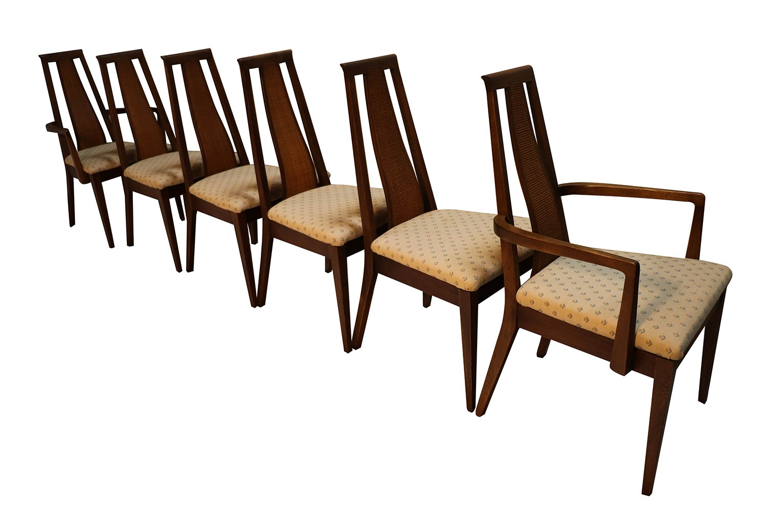 Mid Century Modern Six Walnut Dining Chairs American Of