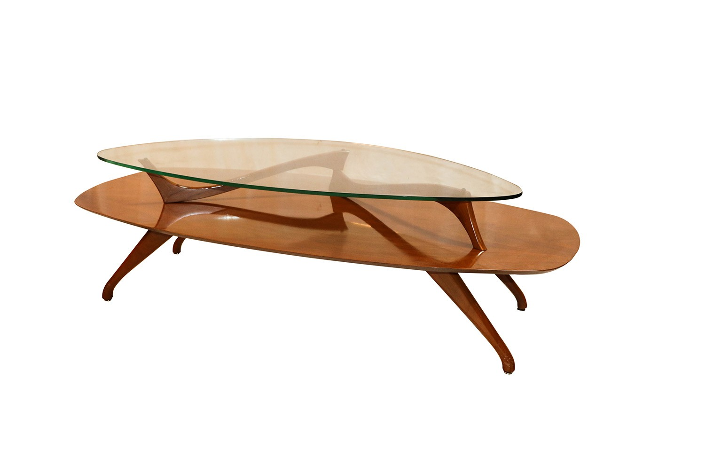 Kagan Coffee Table.Mid Century Modern Two Tier Vladimir Kagan Style Walnut Coffee Table