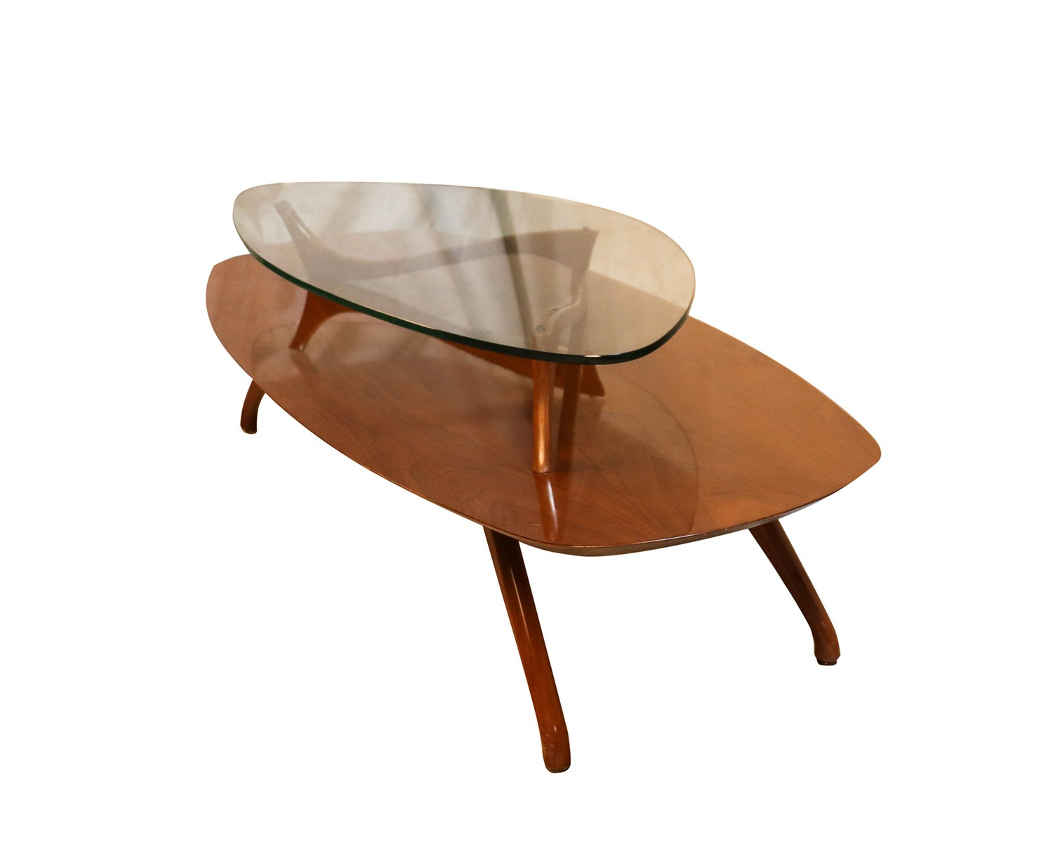 Mid century modern two tier vladimir kagan style walnut for Modern style coffee tables