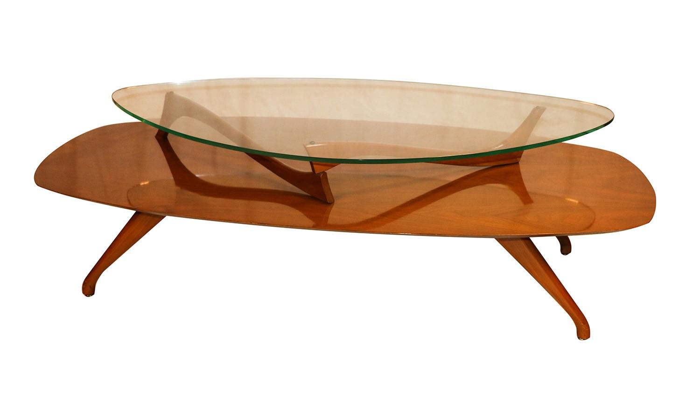 Mid Century Modern Two Tier Vladimir Kagan Style Walnut Coffee Table
