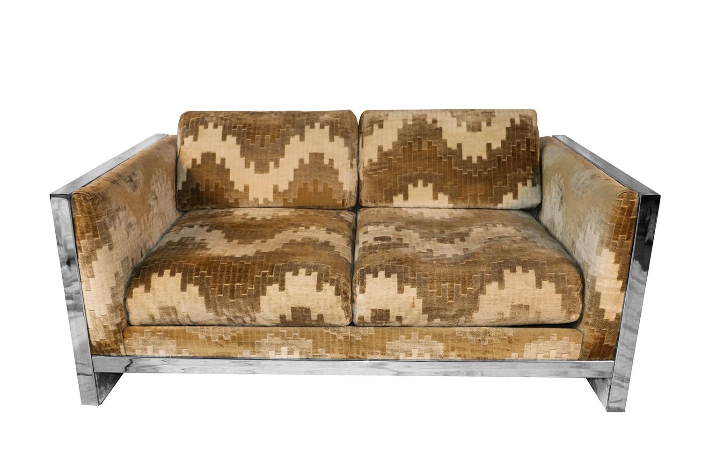 Groovy Mid Century Selig Monroe Milo Baughman Style Chrome Bralicious Painted Fabric Chair Ideas Braliciousco