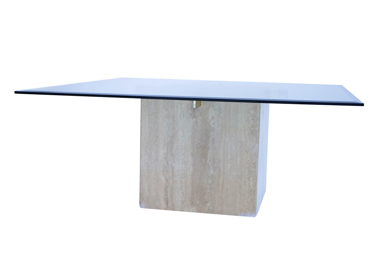 Glass Table Coffee Table.Mid Century Travertine Glass Coffee Table