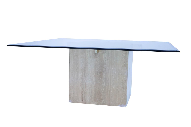 Mid Century Travertine Glass Coffee Table