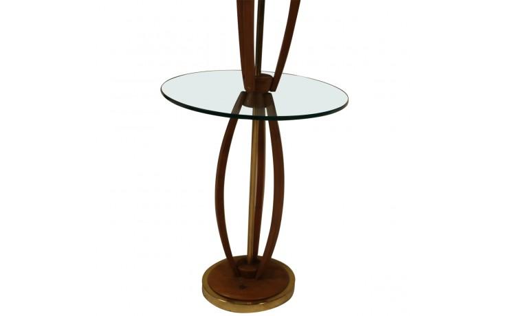 Mid Century Vintage Walnut Brass Floor Lamp Side Table