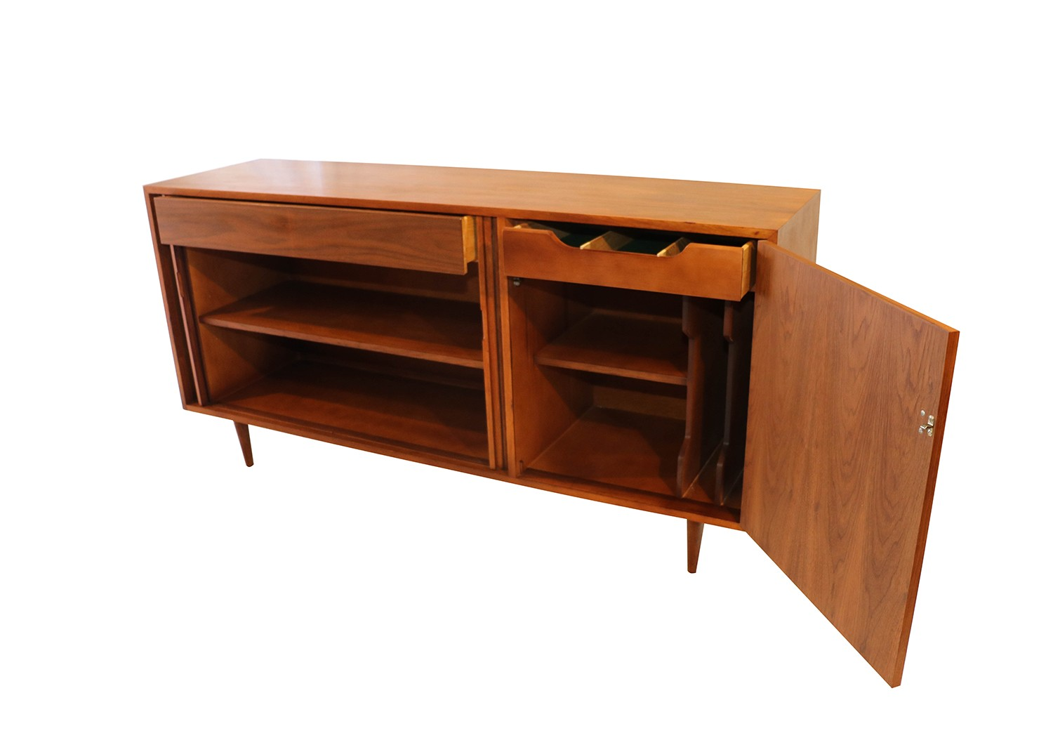 mid century modern tambour door credenza sideboard. Black Bedroom Furniture Sets. Home Design Ideas