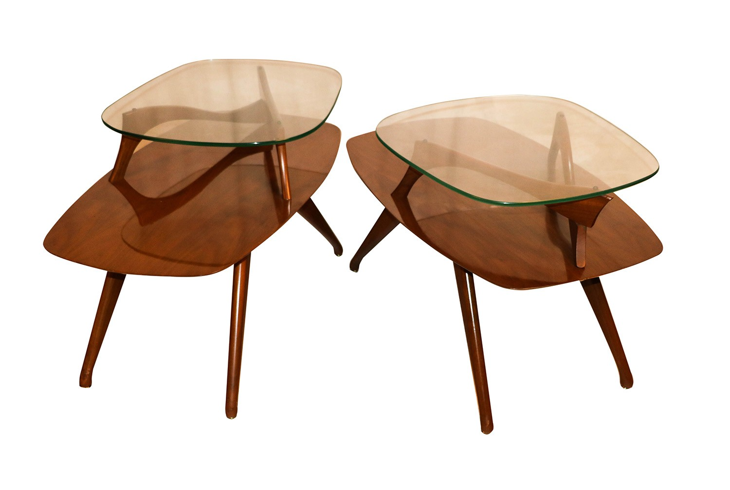 Pair mid century modern two tier pearsall style tables for Mid century style furniture
