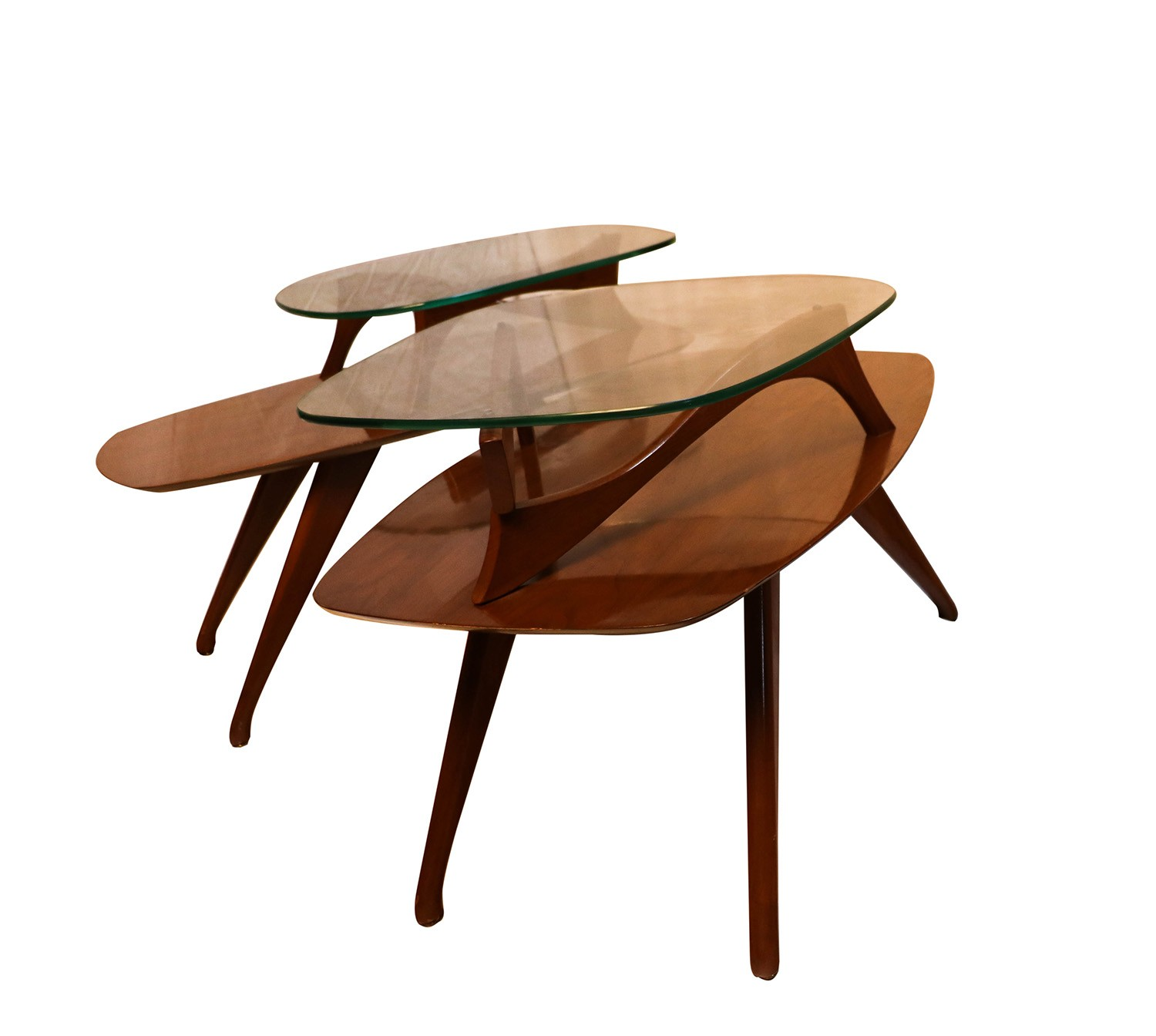 Lane Pearsall Style Mid Century Modern Coffee Table: Pair Mid Century Modern Two Tier Pearsall Style Tables
