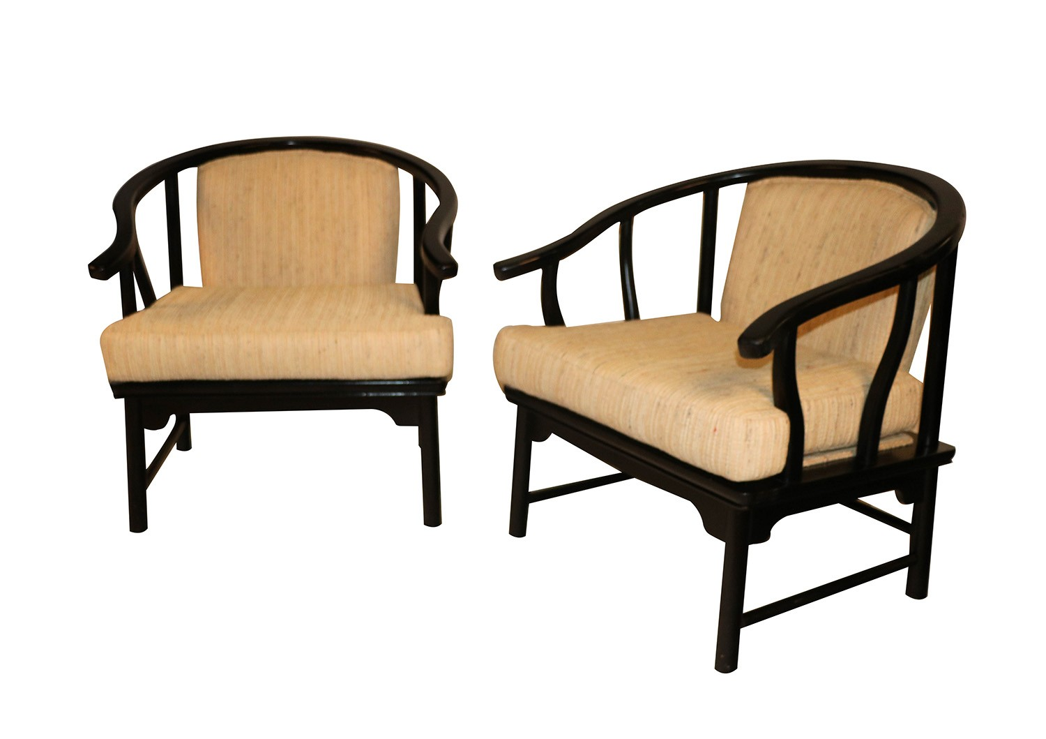 Strange Chinese Style Black Lacquer Horseshoe Arm Chairs Pair Pdpeps Interior Chair Design Pdpepsorg