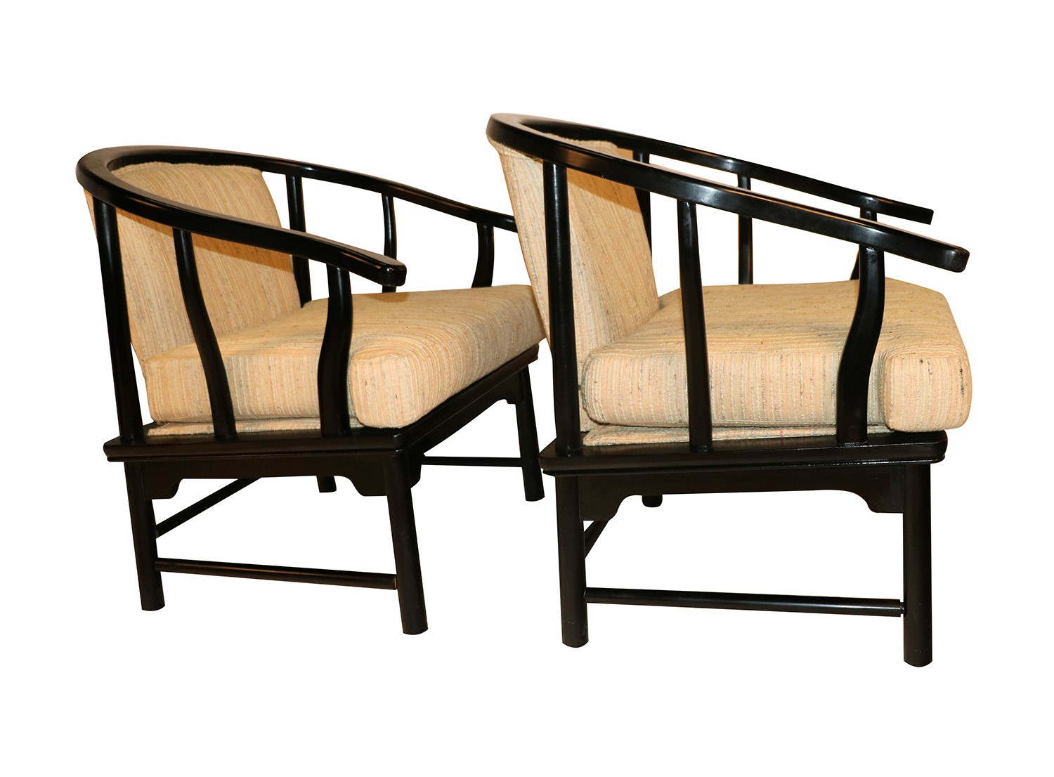 Chinese Style Black Lacquer Horseshoe Arm Chairs ...