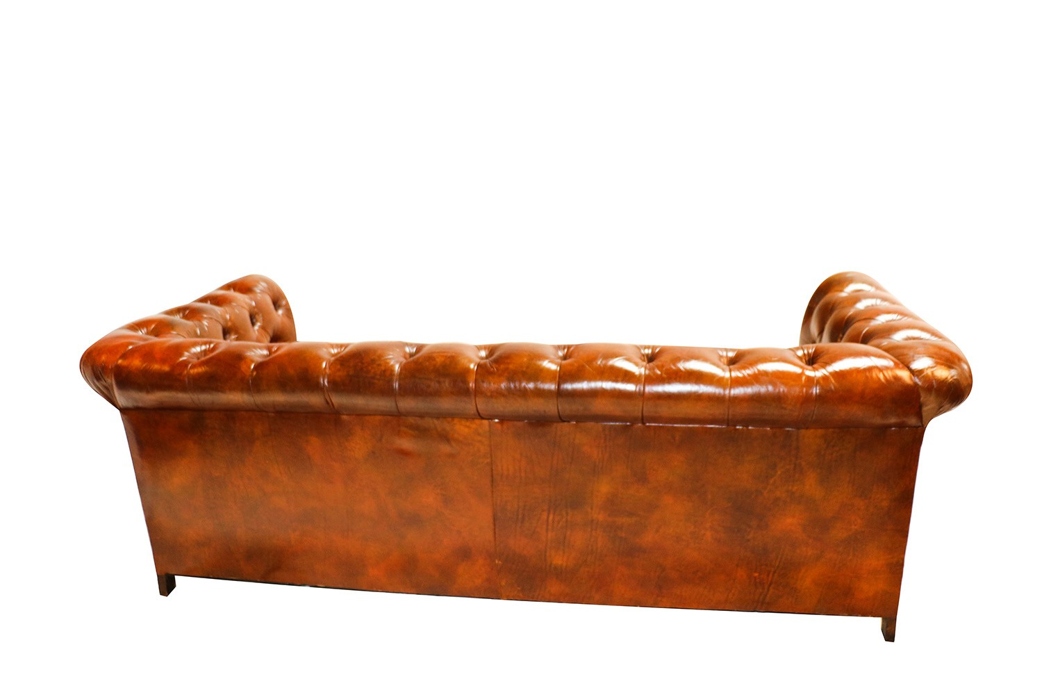 vintage chesterfield style brown leather button tufted sofa. Black Bedroom Furniture Sets. Home Design Ideas