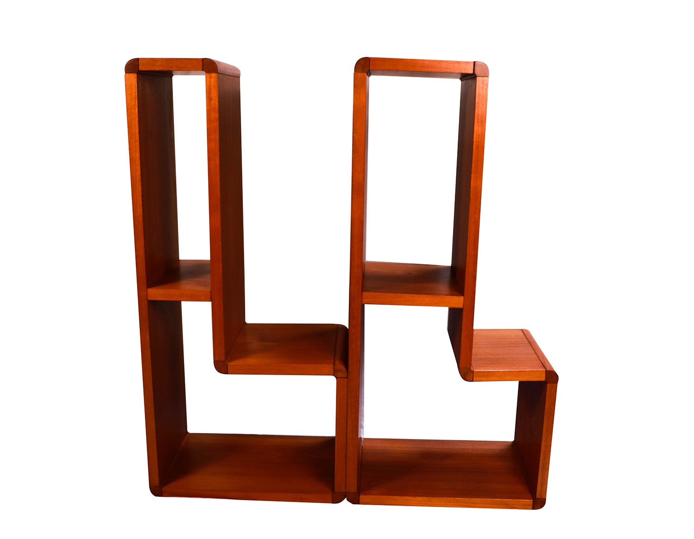 Pair Mid Century Modern Teak Bookcase