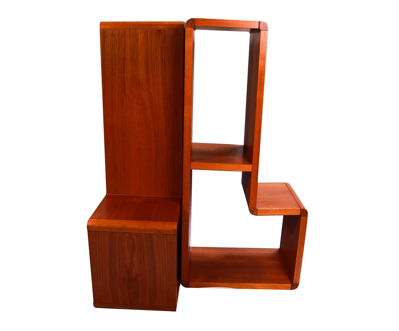 pair mid century modern teak bookcase. Black Bedroom Furniture Sets. Home Design Ideas