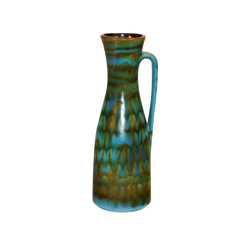 Mid Century Modern Blue Green Italian Raymor Pitcher Vase