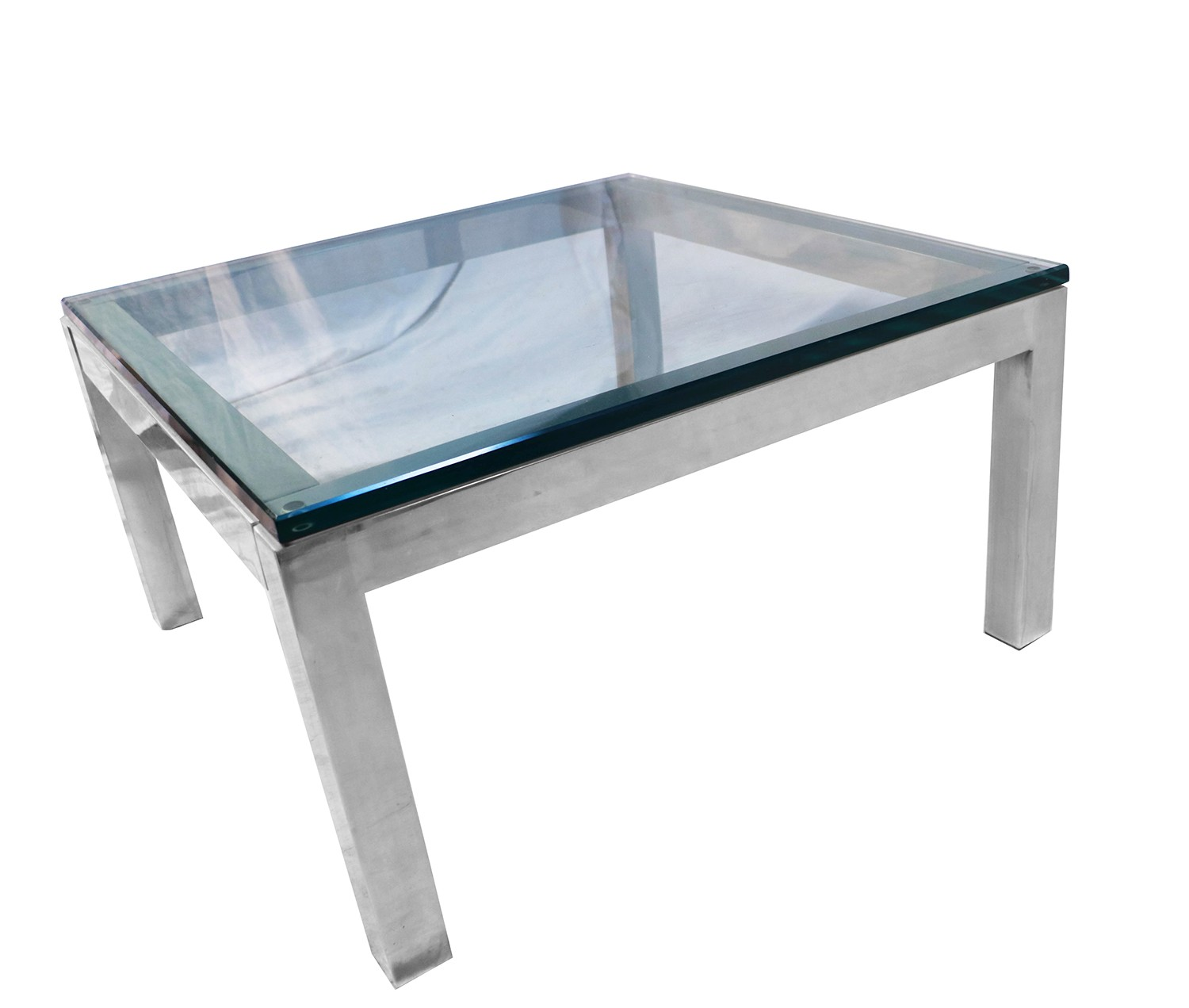 Mid Century Chrome And Glass Coffee Table: Mid Century Modern Chrome & Glass Coffee Table Milo