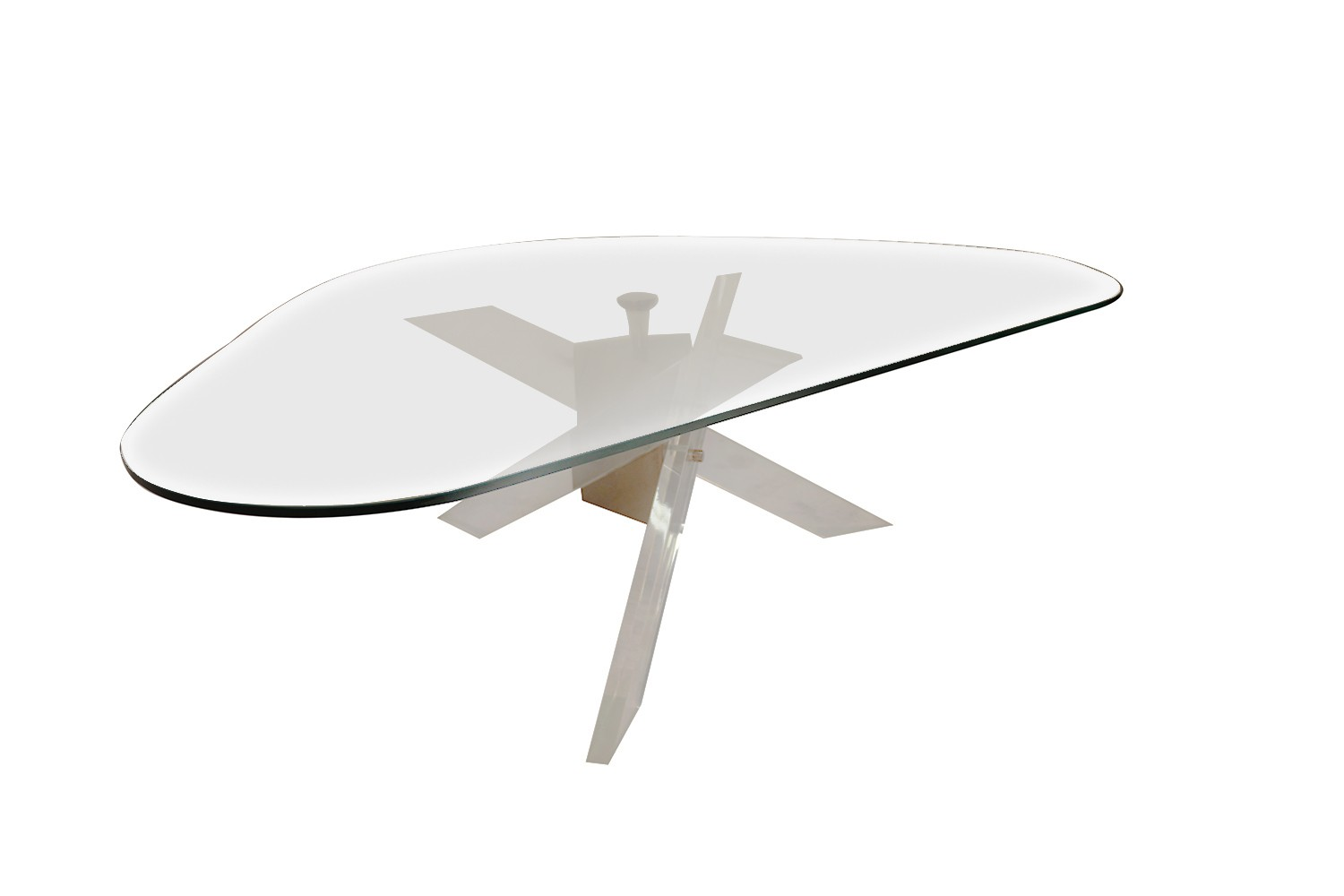 7bed9dc383d9 Sculptural Lucite Brass Base Glass Coffee Table -