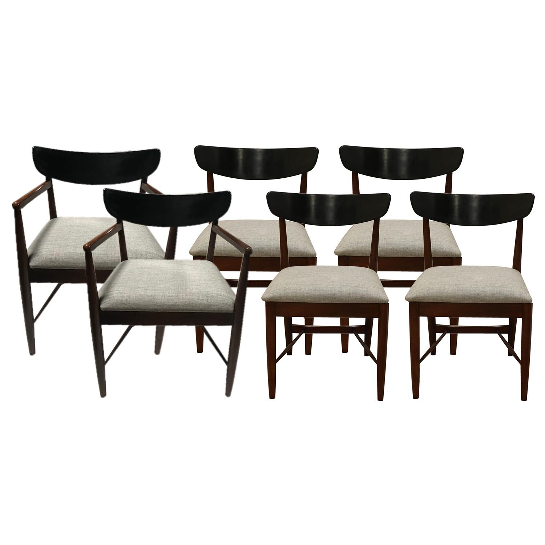Genial Mid Century Modern Walnut Dania American Of Martinsville Dining Chairs