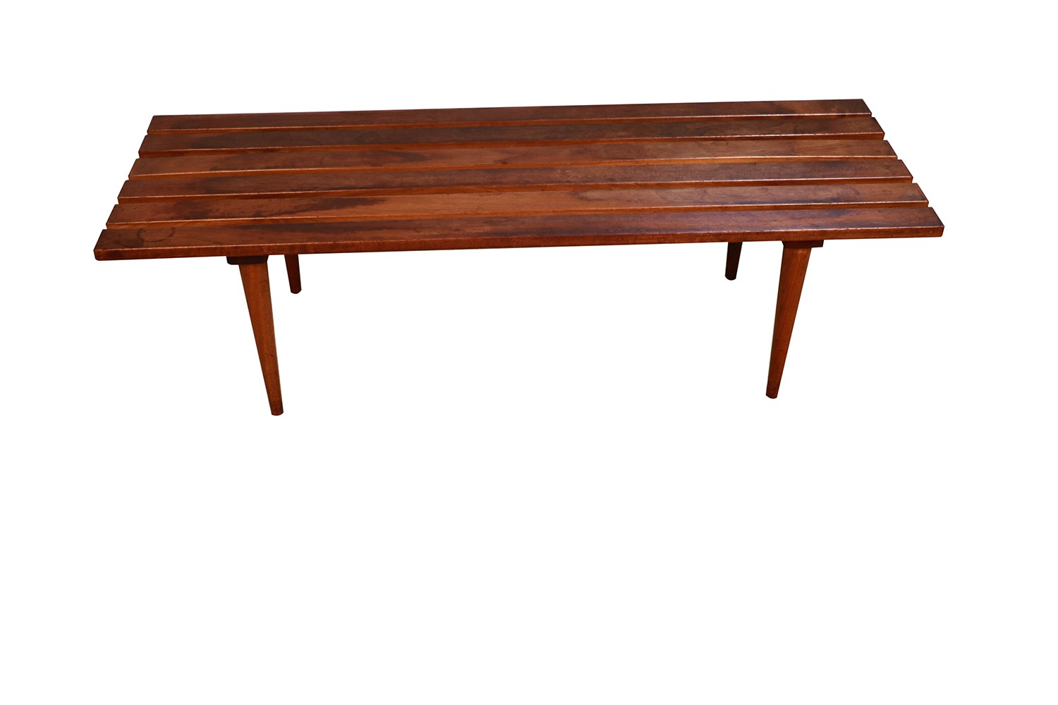 Mid Century Modern Marble Top Slat Bench Coffee Table