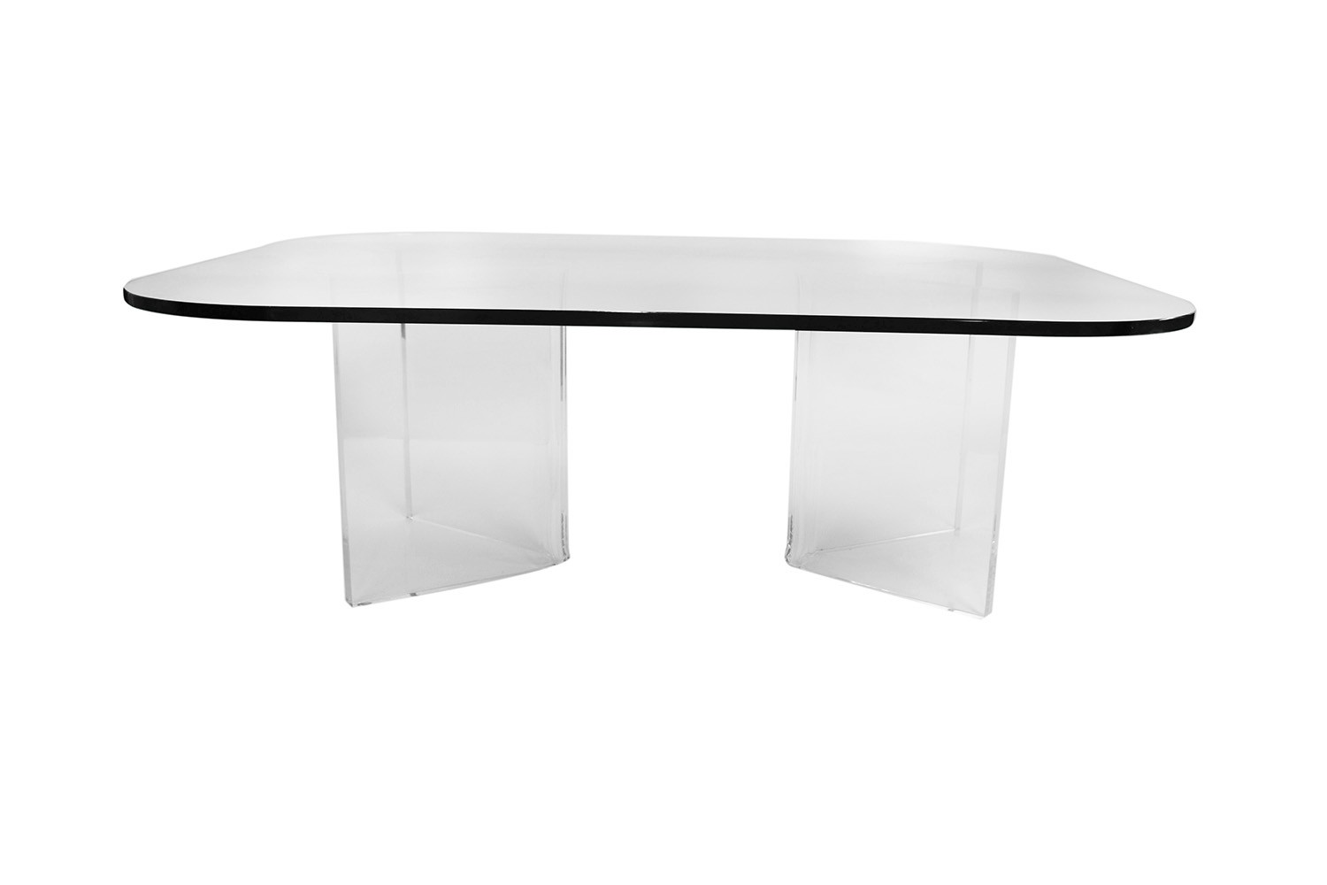 ce23bf4da037 Mid Century Modern Lucite Base Glass Top Coffee Table -