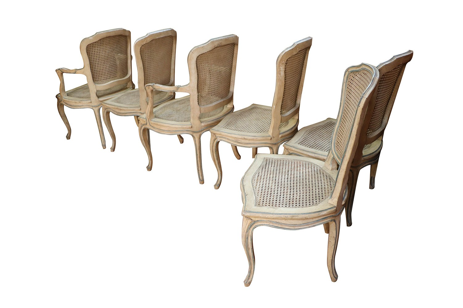 Six French Painted Caned Rococo Style Dining Chairs