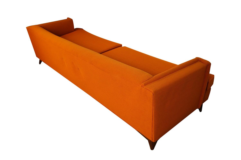 Mid Century Modern Orange Upholstered Sofa -