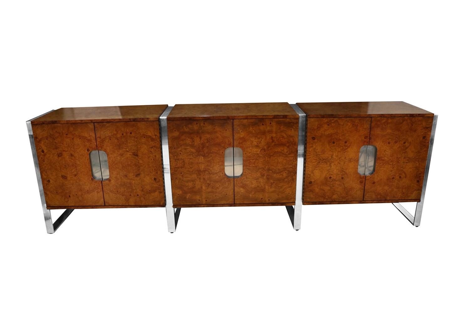 Mid Century Burl Walnut Brushed Chrome Sideboard Buffet Pace Collection
