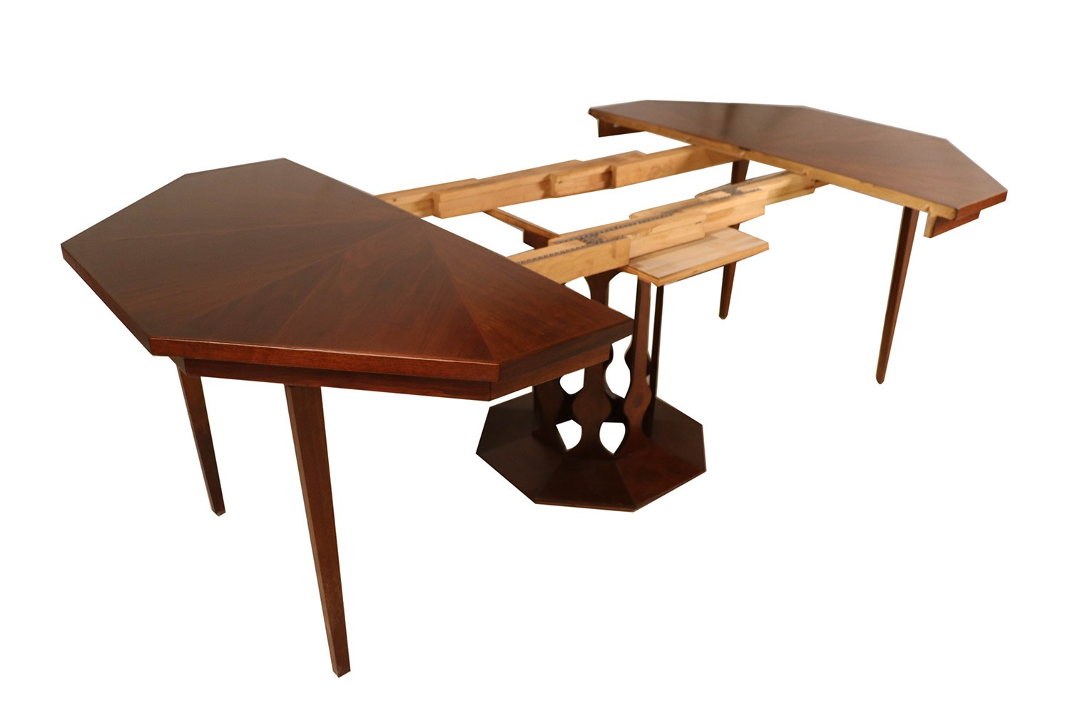 mid century foster mcdavid walnut expandable dining table. Black Bedroom Furniture Sets. Home Design Ideas