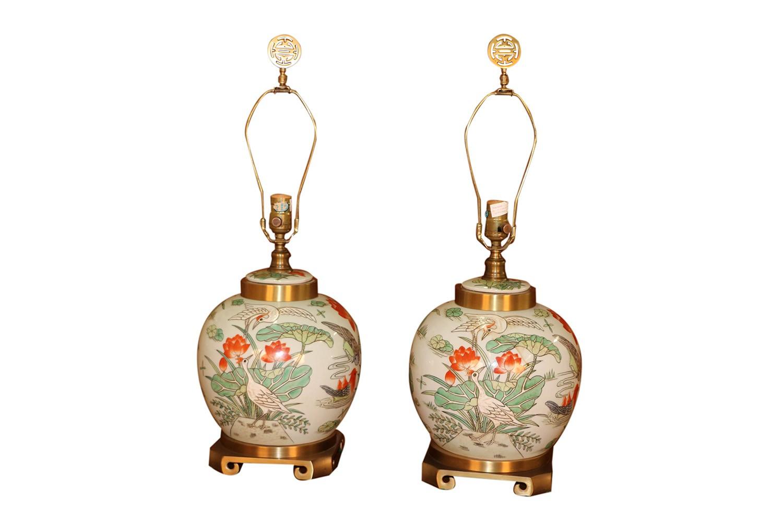 Pair Maitland Smith Brass Amp Porcelain Ginger Jar Lamps