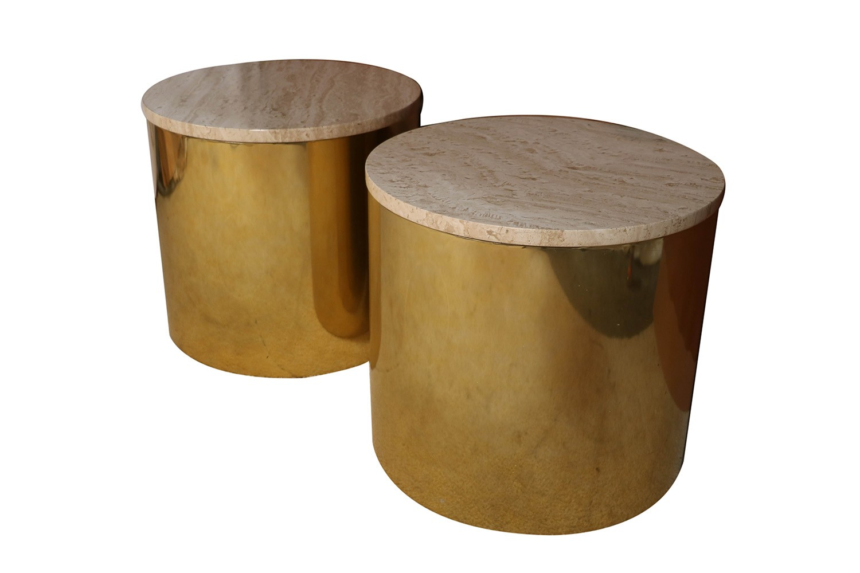 Paul Mayen Mid Century Pair Br Round Side Drum Tables