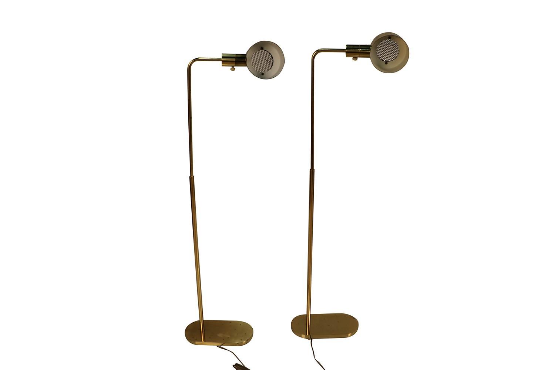 Pair Mid Century Casella Pharmacy Brass Floor Lamps
