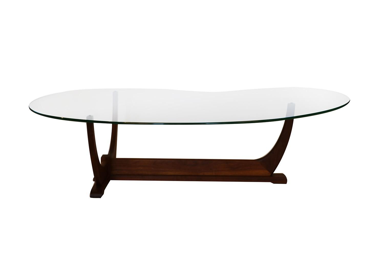 Adrian Pearsall Mid Century Modern Biomorphic Glass Top Walnut Coffee Table