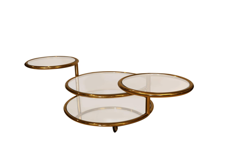Milo Baughman style Mid Century Four Tier Brass Glass Swivel Coffee Table