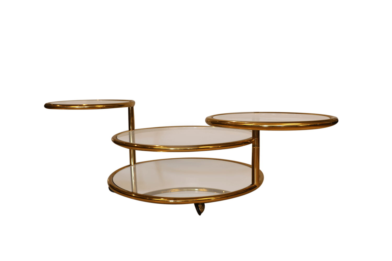 Milo Baughman Style Mid Century Four Tier Brass Glass