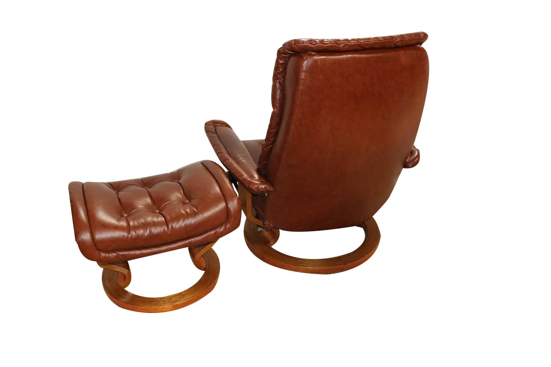 Admirable Mid Century Scandinavian Modern Ekornes Stressless Recliner Caraccident5 Cool Chair Designs And Ideas Caraccident5Info